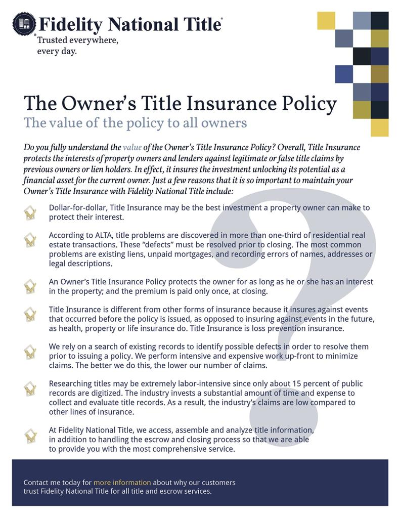 alta title insurance policies There are two title insurance policies in minnesota, learn how to pick the best one at title-1 we offer two owner's title insurance policies, the alta (american land title association) 2006 standard policy and the alta homeowner's policy with enhanced coverage.